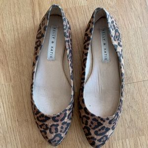 Kelly and Katie Leopard Print Pointed Toe Flats